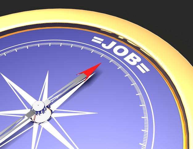 Абстрактный компас с иглой, указывающей слово работа. концепция работы