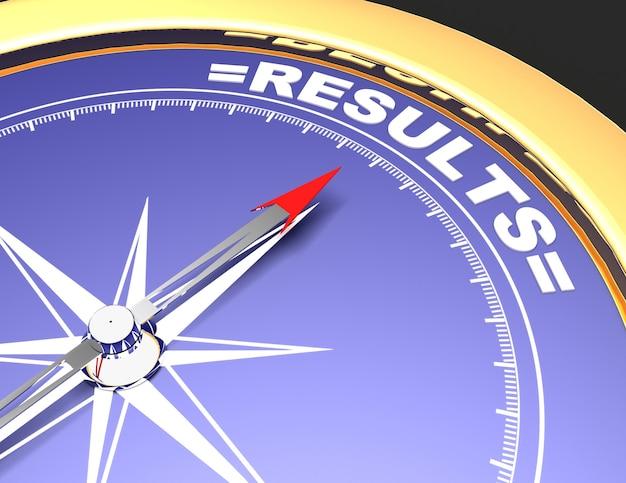 Абстрактный компас с иглой, указывающей на слово результаты. концепция результатов