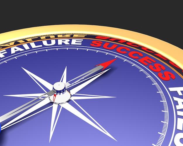 成功という言葉を指す針が付いた抽象的なコンパス。成功のコンセプト