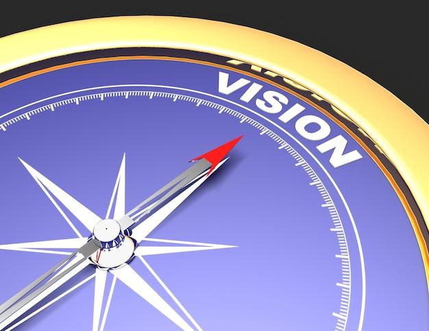 言葉のビジョンを指す針で抽象的なコンパス。ビジョンコンセプト