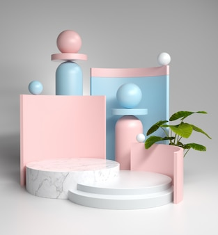 抽象的な構成の園芸植物は、大理石のスタンド、3 dレンダリングでショー製品や化粧品のパステルブランクを表示します。