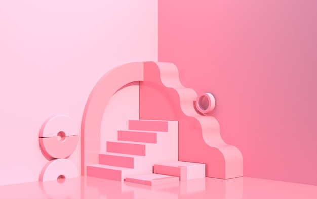 Abstract composition of geometric shapes in art deco style and podium for product showcase, pink color, 3d render
