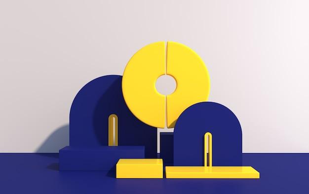 아트 데코 스타일의 기하학적 모양과 제품 쇼케이스, 여러 가지 빛깔의 모양, 3d 렌더링 연단의 추상 구성