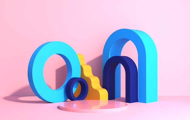 アールデコスタイルの幾何学的形状と製品ショーケースの表彰台の抽象的な構成、ピンクの背景に色とりどりの形状、3dレンダリング