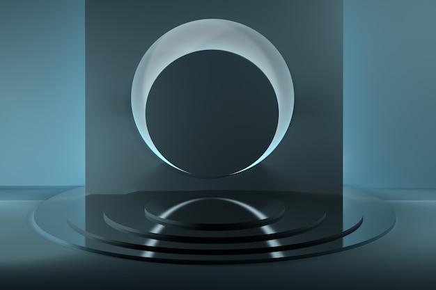 큰 원과 거울 빛나는 받침대가있는 추상 구성