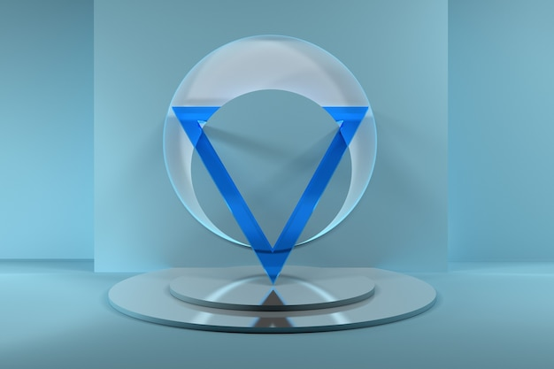 Abstract composition with large transparent blue glass triangle on mirror pedestal