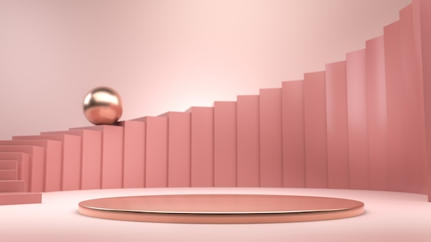 Abstract composition with pink stairs, golden sphere and golden podium