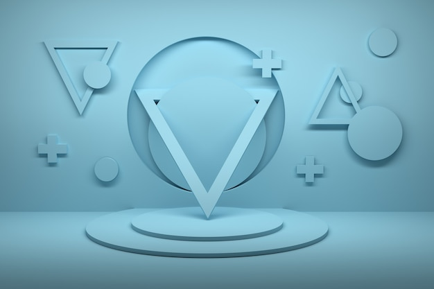 Abstract composition with triangles, crosses and circles on pedestal in blue color