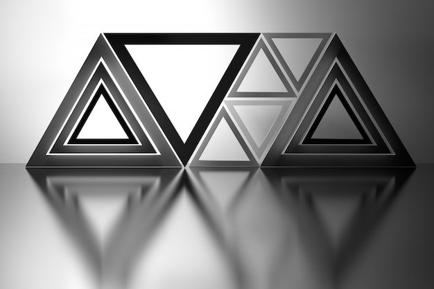 Abstract composition with triangles over mirror floor