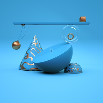 Abstract composition with tube sphere cube triangle with blue and gold  3d rendering