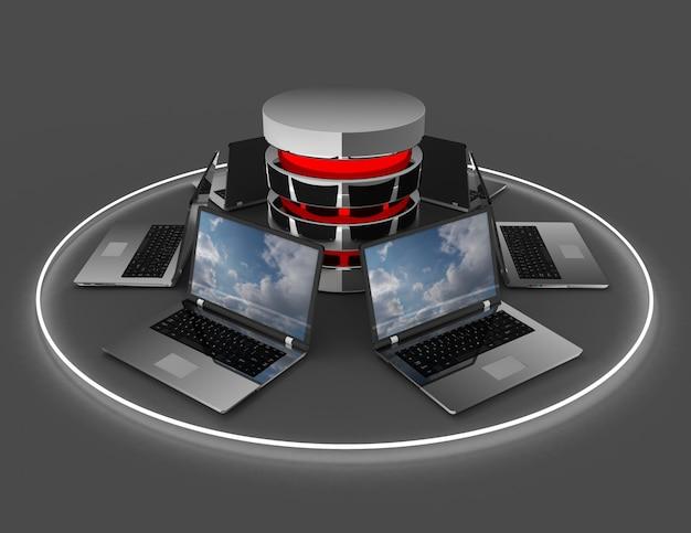 Абстрактная компьютерная сетевая база данных. 3d иллюстрация