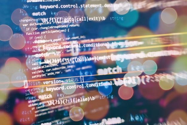 Абстрактный компьютерный скрипт о больших данных и базе данных блокчейн. программный код разработчика программного обеспечения. программа процесса майнинга криптовалюты на дисплее пк. использование программного обеспечения.