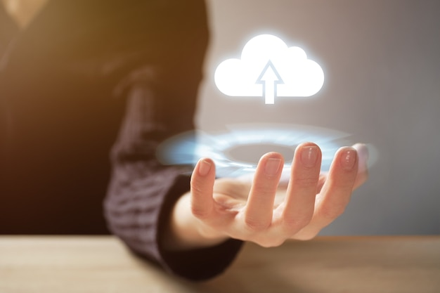 Abstract concept of cloud technology and internet downloads.