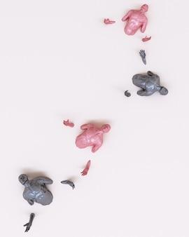 Абстрактное понятие красочные мужчины застряли на полу. 3d рендеринг
