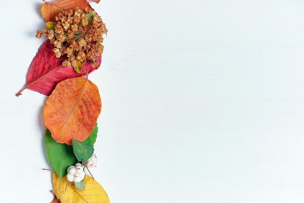 乾燥した葉とコピースペースの木製の背景の秋の抽象的な概念