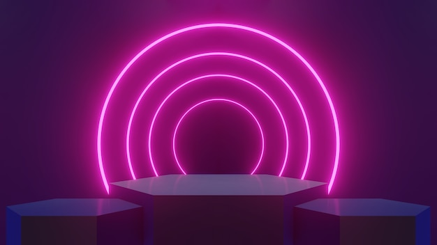 Abstract concept three hexagonal stands lined up and illuminated neon pink circle laser glow lights, used for product display and products - 3d render.