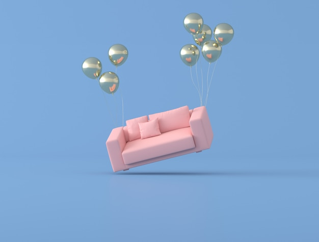 Abstract conceptual idea of pink sofa is floating up by gold balloons on blue background, minimal style. 3d rendering