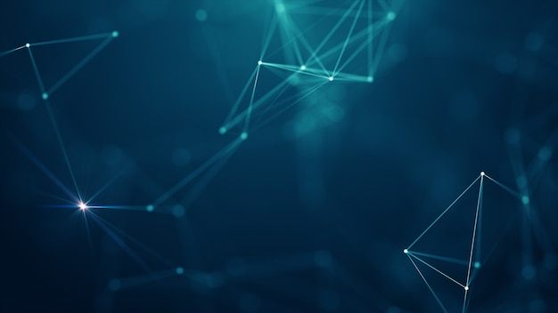 Аннотация подключенных точек и линий на синем фоне. концепция сети связи и технологии с движущимися линиями и точками.