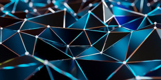 Abstract connection structure with connecting dots and lines - 3d rendering