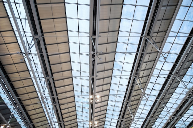 Abstract construction steel glass roof frame