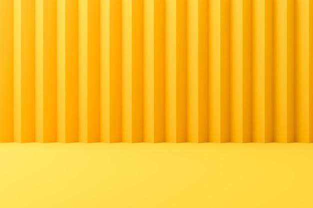 Абстрактные современные фоны или желтый дисплей на фоне ярких летних с полосатой стеной. 3d-рендеринг.