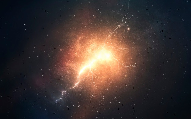 Abstract cosmic background with burning plasma splashes. deep space image, science fiction fantasy in high resolution ideal for wallpaper and print. elements of this image furnished by nasa