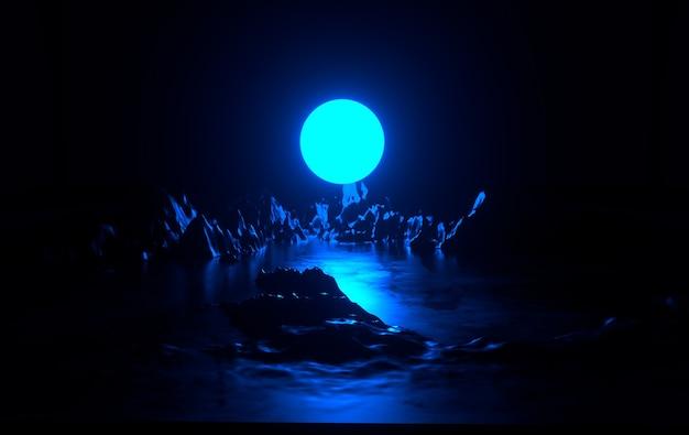 青いネオンの月と明るい仮想現実の暗い空間の岩と抽象的な宇宙の風景