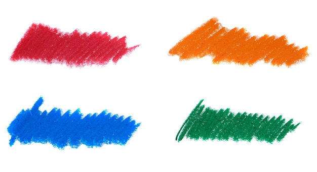 Abstract crayon on white background. blue, orange, green and red crayon scribble texture. wax pastel spot.