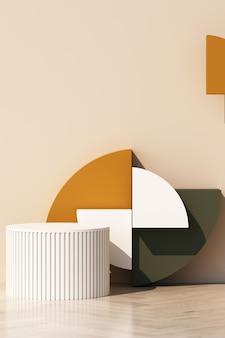 벽에 그림자와 함께 제품에 대 한 기하학적 모양 연단 추상 크림 배경. 최소한의 개념 주황색과 갈색 노란색 톤. 3d 렌더링