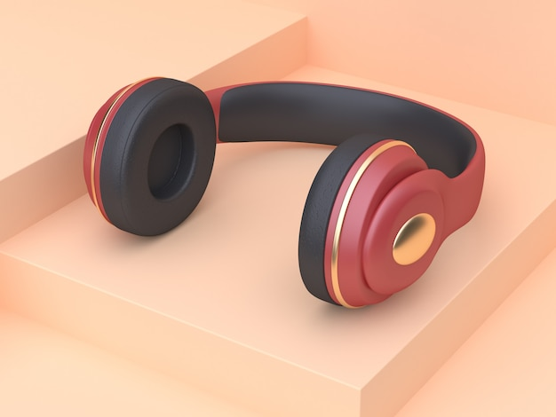 Abstract cream scene red gold headphones music technology concept 3d rendering