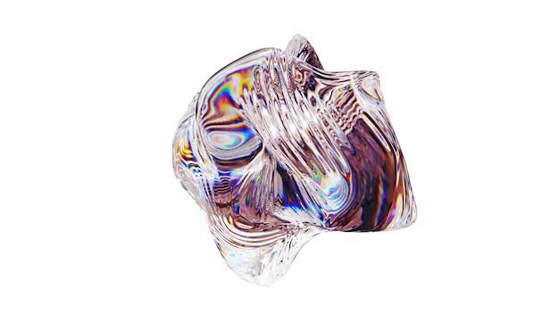 분산 및 굴절 흰색 배경에 고립 된 추상 크리스탈 유리 구. 3d 렌더링 그림