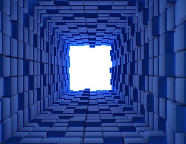 Абстрактные кубики фон туннель 3d. 3d визуализированная иллюстрация