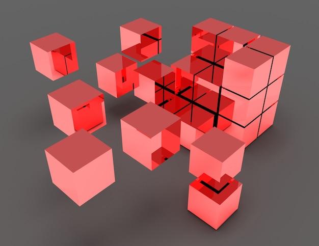 추상 큐브 개념입니다. 3d 렌더링 된 그림