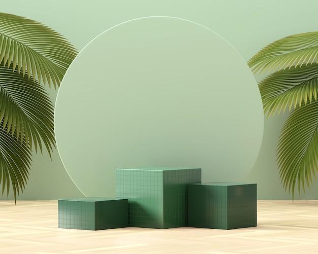 ヤシの葉の3dレンダリングによる製品ディスプレイ用の抽象的なキューブプラットフォーム表彰台ショーケース