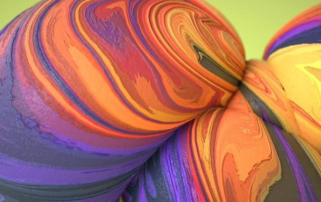 冷凍アイスクリームの質感を持つ抽象的な湾曲した有機的な滑らかな柔らかい形