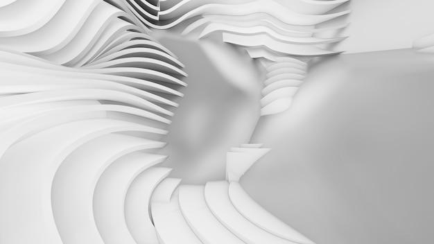 추상 곡선 모양. 흰색 원형 배경입니다. 추상적 인 배경. 3d 그림