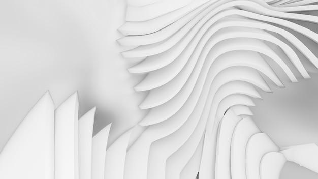 추상 곡선 모양. 흰색 원형 배경입니다. 추상적 인 배경. 3d 일러스트