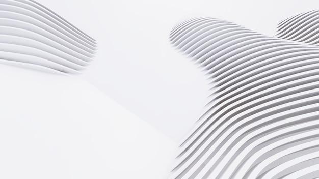 Абстрактные изогнутые формы. белый круговой фон. абстрактный фон. 3d иллюстрация