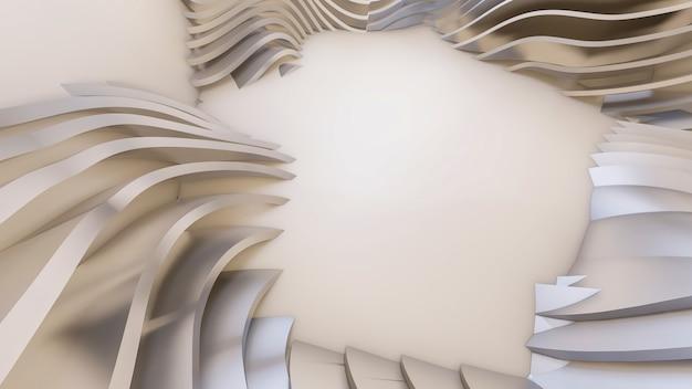 抽象的な湾曲した形状。白い円形の背景。
