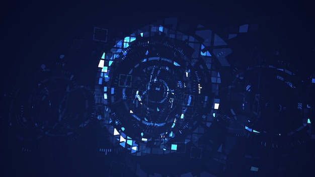 Abstract cyber circle digital technology graphic background