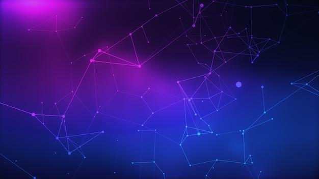 点と線の三角形のセルが接続されている抽象的なサイバーパンクの背景。技術コンセプト。