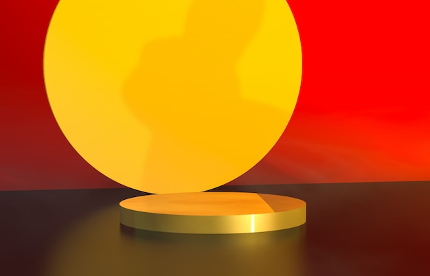 Abstract cylinder box backdrop with full moon background. 3d render. mid autumn background.