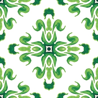 Abstract damask flower seamless ornamental watercolor paint pattern. green ornament. elegant luxury texture for wallpapers, backgrounds and page fill