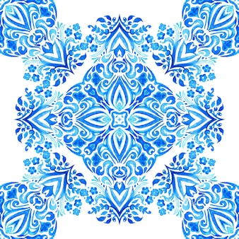 Abstract damask flower seamless ornamental watercolor paint pattern hand drawn blue and white tile elegant luxury texture for wallpapers backgrounds and page fill fabric cloth design gift wrapping