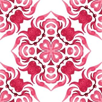 Абстрактный узор дамасской бесшовные декоративные акварельные краски. красный цветок тюльпан орнамент. элегантная роскошная текстура для обоев, фонов и заливки страниц