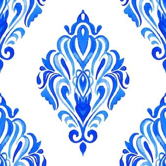 Абстрактный узор дамасской бесшовные декоративные акварельные краски.