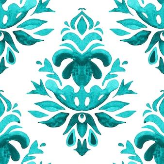 抽象的なダマスク手描き花柄。ファブリックの抽象的なシームレスな装飾用水彩ペイントパターン