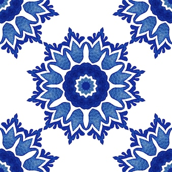 Abstract damask sun flower seamless ornamental watercolor paint pattern. elegant luxury texture for wallpapers, backgrounds and page fill. blue and white azulejo dutch tile