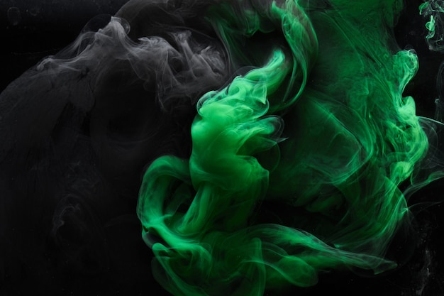 Abstract dance of green and black smoke under water, paint in water, colorful cloud in motion. fluid art wallpaper, liquid vibrant colors