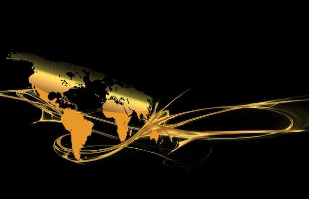 세계의 금 지도와 추상 어두운 배경